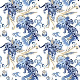 블루 야생 호랑이와 추상 페르시아 꽃과 잎 벡터 원활한 패턴