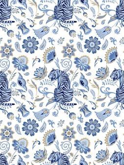 Синие дикие тигры с абстрактными декоративными растениями вектор бесшовный фон