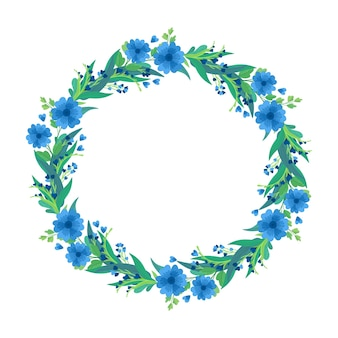Blue wildflowers wreath, botanical floral composition.