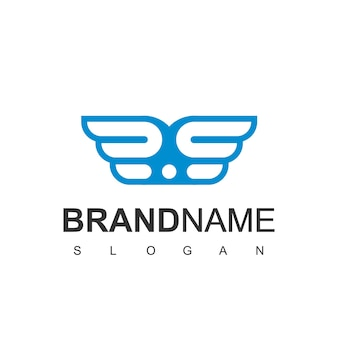 Шаблон оформления логотипа синие крылья