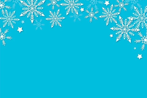 Blue winter background in paper style