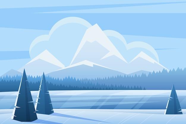 Синий зимний пейзаж плоская иллюстрация