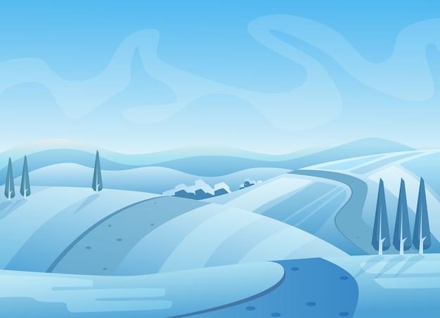 Blue winter landscape illustration