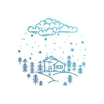 Синий зимний пейзаж в круглой композиции.