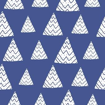 낙서 기하학적 나무와 푸른 겨울 패턴