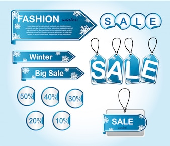 Blue winter tags with snowflakes vector illustration