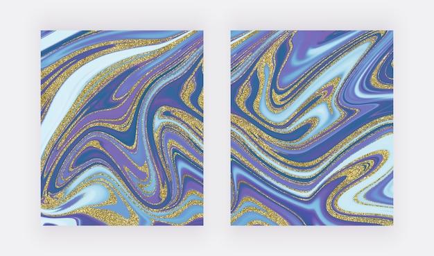 金色のキラキラ水墨画パターンと青。