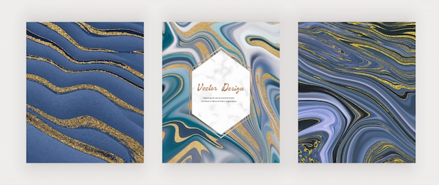 Blue with golden liquid ink painting abstracts.