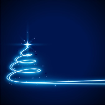 Blue  with neon christmas tree