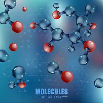赤い3 d分子と青。抽象的なデザイン