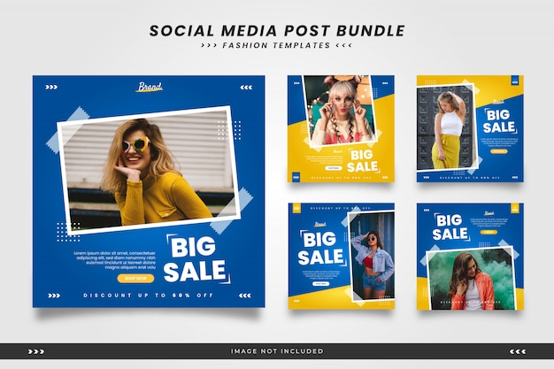 Blue with yellow minimalist fashion social media post templates with tape