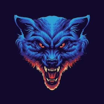 青いオオカミの頭のイラスト