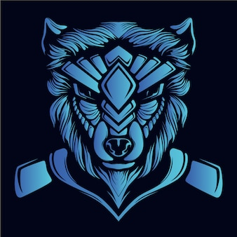 Blue wolf head illustration