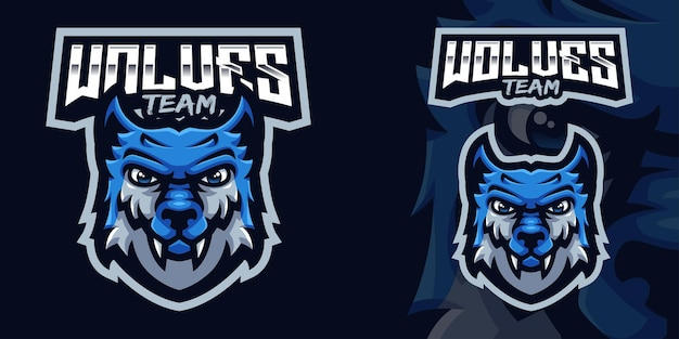 Blue wolf mascot gaming logo template for esports streamer facebook youtube
