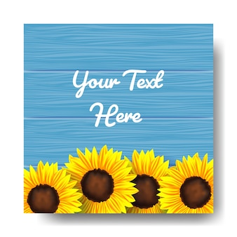 Blue wood background with sunflower