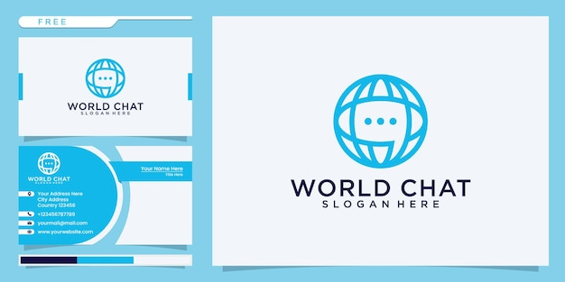 Blue world chat connection logo and business card template