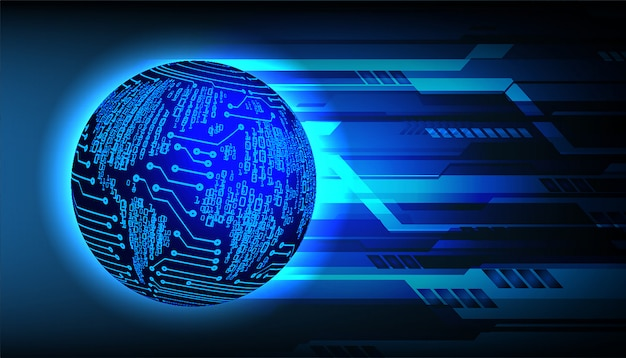 Blue world cyber circuit future technology background