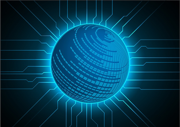 Blue world cyber circuit future technology concept background