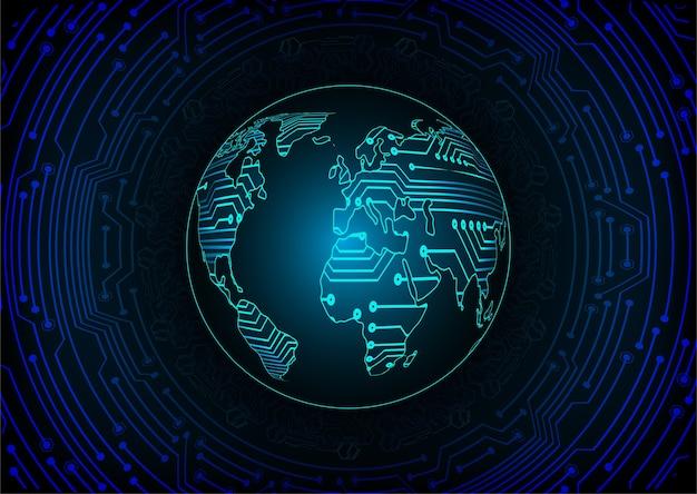 青い世界のサイバー回路将来の技術コンセプトの背景