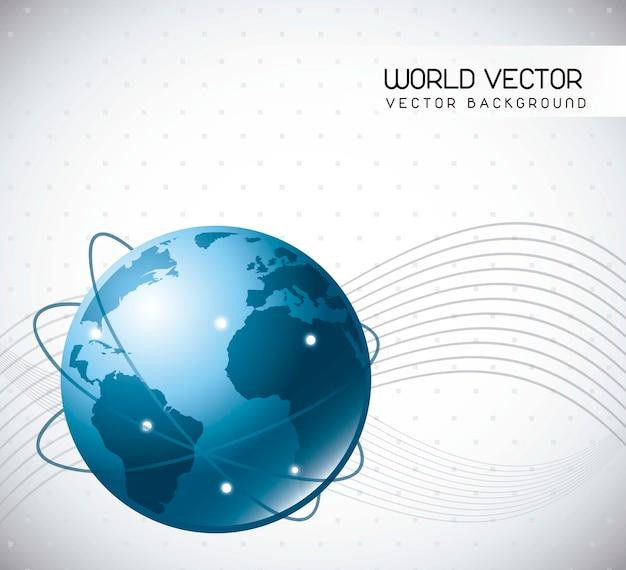 Blue world over gray background vector illustration