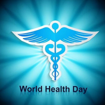 Blue world health day card with a symbol
