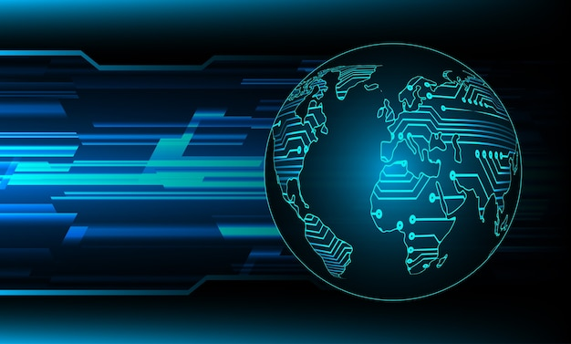 Голубая карта мира свет абстрактные технологии фон для компьютерной графики.
