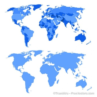 Blue world map vector background