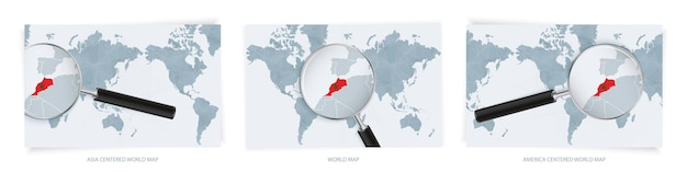 Blue world maps with magnifying glass on map of morocco with the national flag of morocco. three version of world map.