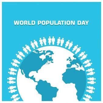 Blue world population day background