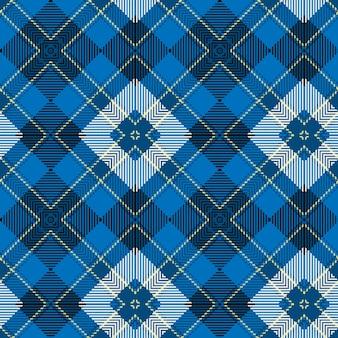 青い織りスコットランドのタータンパターンの背景