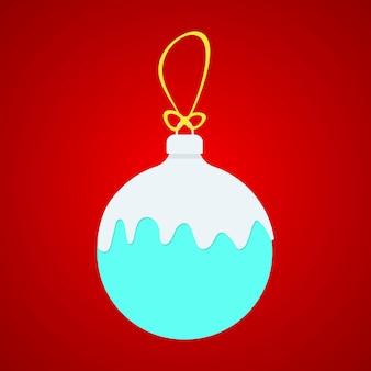 黄色の文字列に白い雪が付いた青いxボール。クリスマスボール雪の概念。赤い背景で隔離のクリスマスボール。フラットスタイルトレンドモダンなロゴデザインクリスマスボールベクトルイラスト