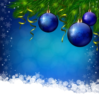 Blue xmas background with blue baubles