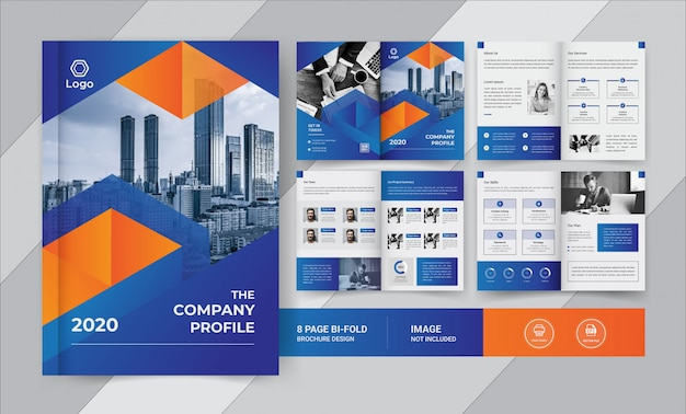 Blue & yellow 8 pages business brochure design