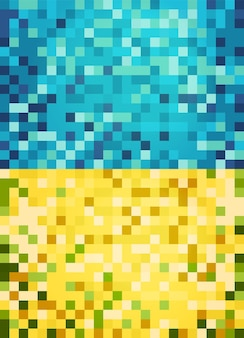 Blue and yellow abstract pixel background for web business print