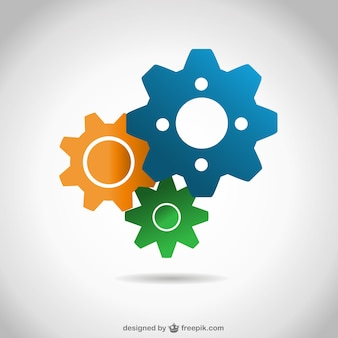 Blue, yellow and green gears