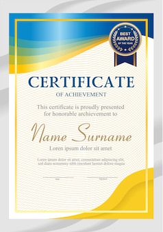 Blue and yellow certificate template