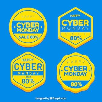 Distintivi cyber monday blu e giallo