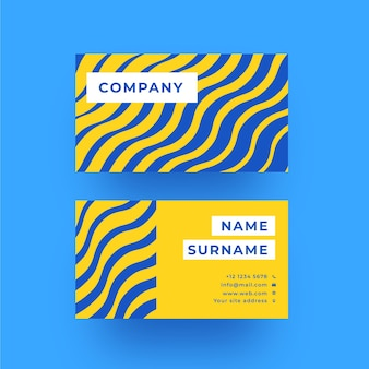 Blue and yellow distorted lines business card