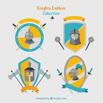 Blue and yellow emblems of knights