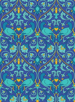 Blue and yellow floral pattern. seamless filigree ornament. colorful background with birds and flower.