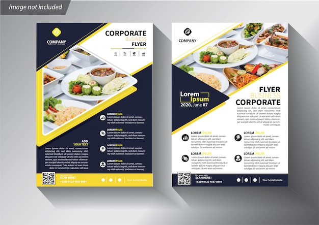 Blue and yellow flyer template for brochure corporate