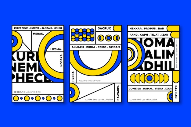 Blue and yellow geometric shapes for covers