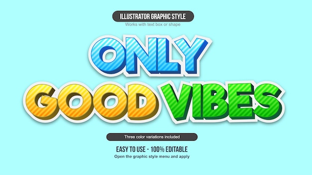 Blue yellow and green 3d cartoon text effect collectio