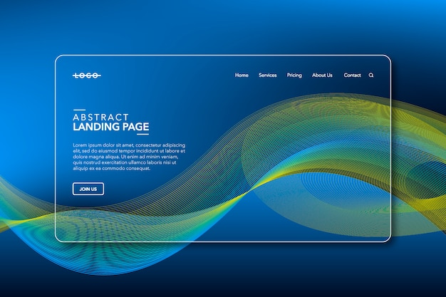 Blue and yellow line on modern abstract background landing page website