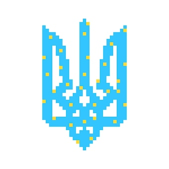 Blue and yellow pixel art ukrainian emblem. concept of crystal face, symbolism, 8-bit icon, heraldry, adornment. isolated on white background. flat style trend modern logo design vector illustration