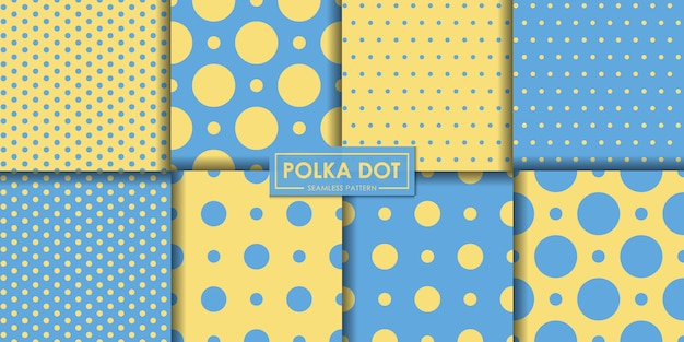 Blue and yellow polkadot seamless pattern collection