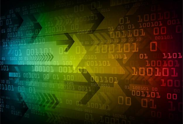 파란색 노란색 빨간색 화살표 사이버 회로 미래 기술 개념 배경