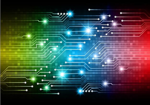青黄色赤サイバー回路将来の技術コンセプトの背景