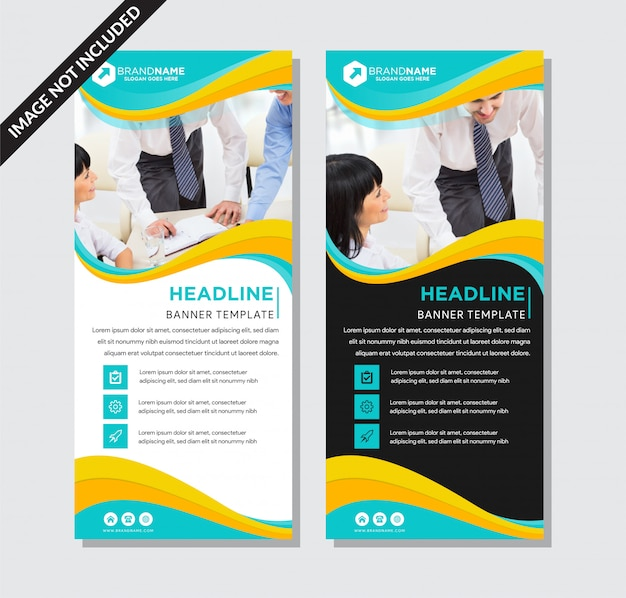Blue and yellow roll-up banner template