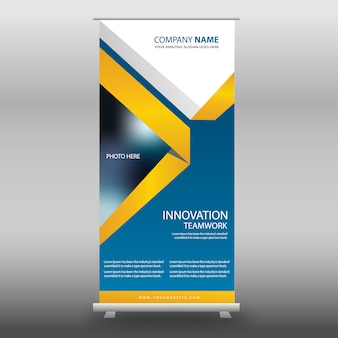 Blue and yellow roll up template